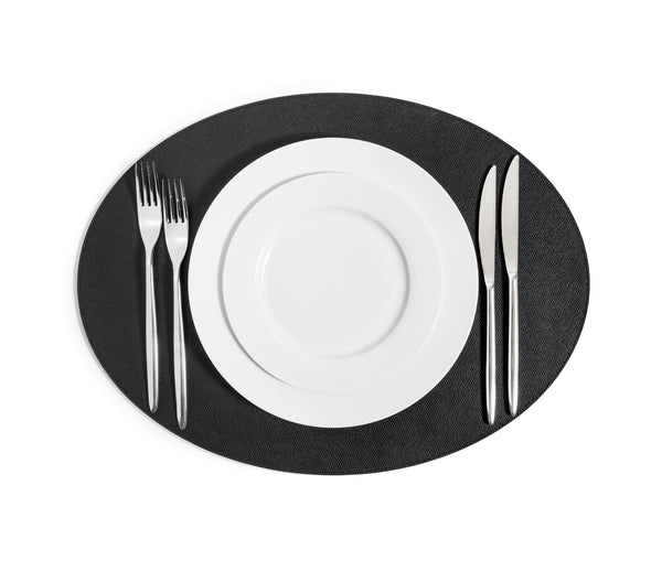 Oval Placemat - Black Leather