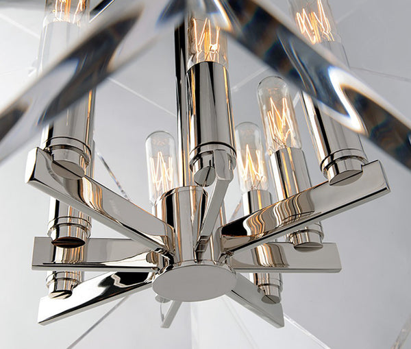 Travis large polished nickel 8 light pendant
