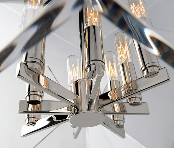 Travis polished nickel 4 light pendant