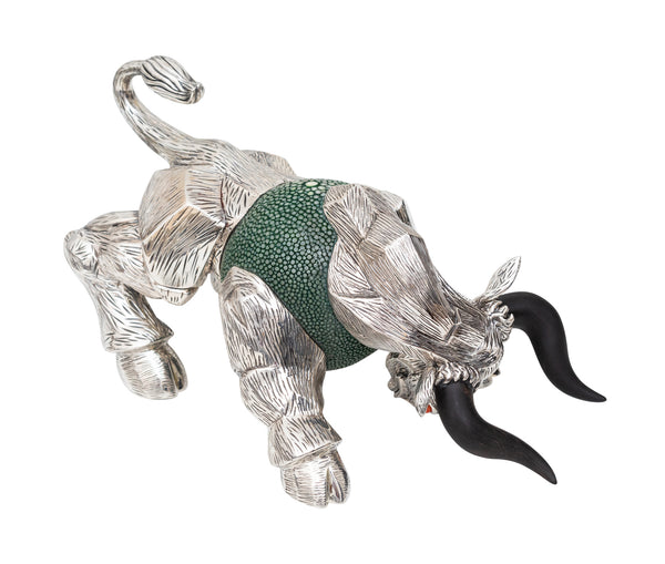 Green Galuchat Bull Paper Weight