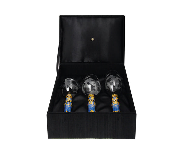 Wine Goblet set with Chinese Cloisonne base (3pcs/set)