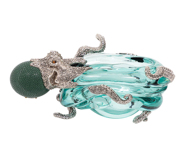 Glass Ashtray with Silver Octopus