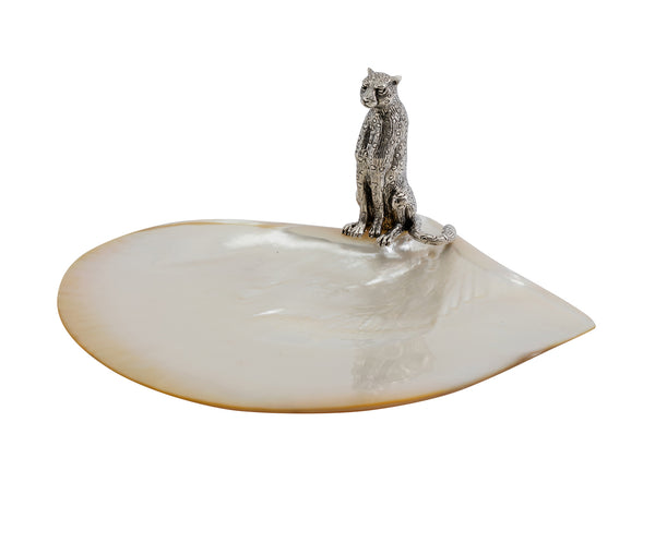 Mother of Pearl Plate with Cheetah