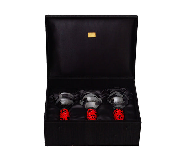 Wine Goblet Set with Red Lacquer Base (3pcs/set)