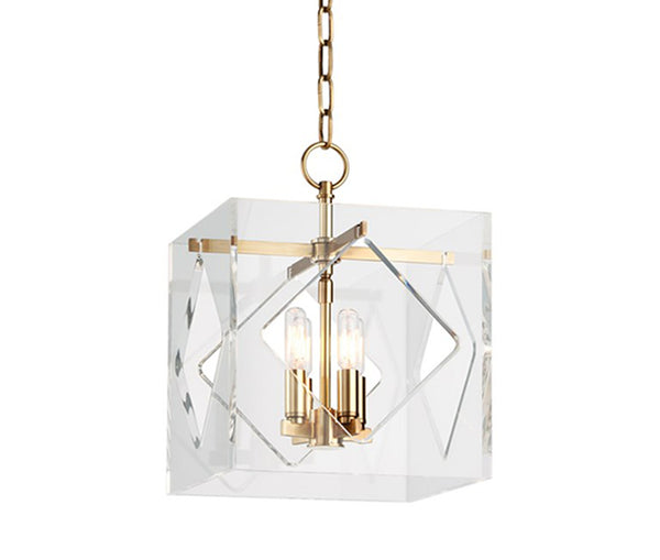Travis aged brass 4 light pendant