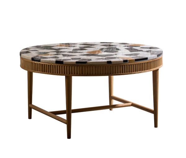 Mausam Coffee Table With Marble Cut Offs Top
