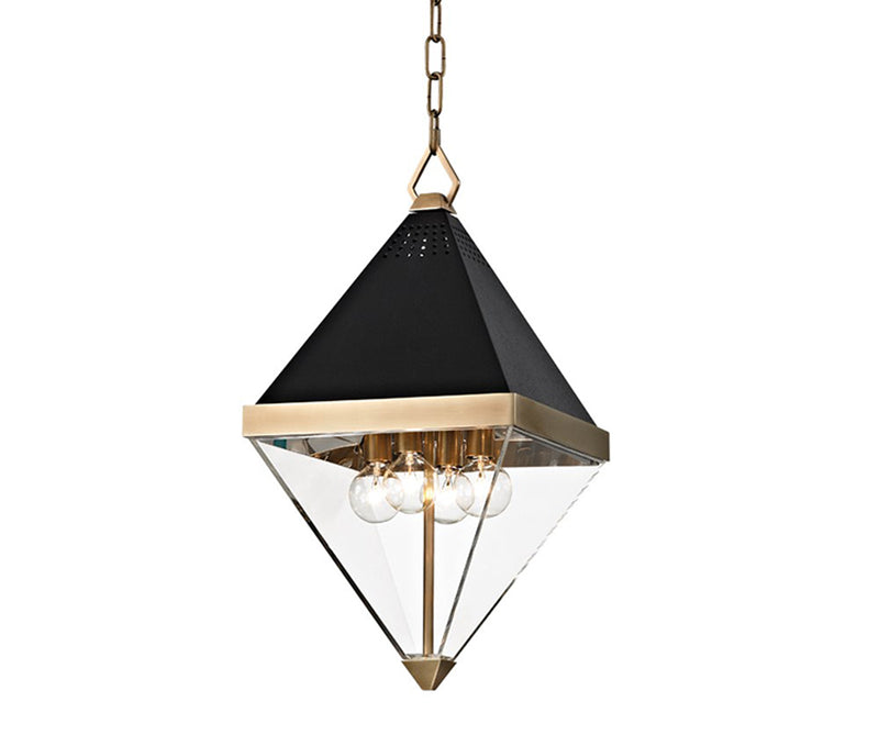 Coltrane aged brass 4 light pendant