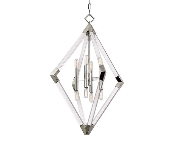 Lyons polished nickel 8 light pendant