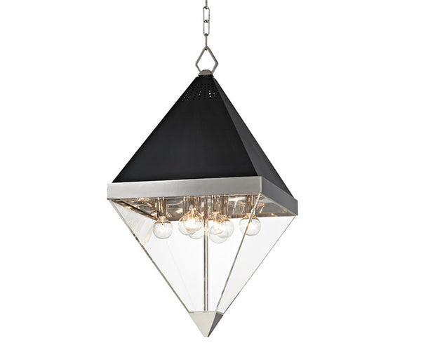 Coltrane polished nickel 8 light pendant
