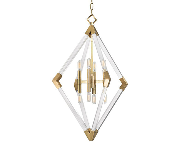 Lyons aged brass 8 light pendant