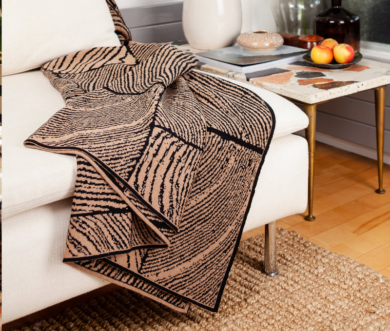 Ambar Wood Block Throw - Hazelnut