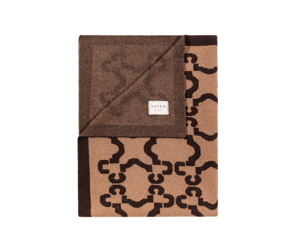 Patterned Sepia Cashmere Blanket