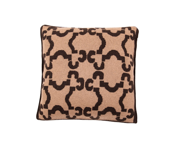 Patterned Sepia Cashmere Cushion