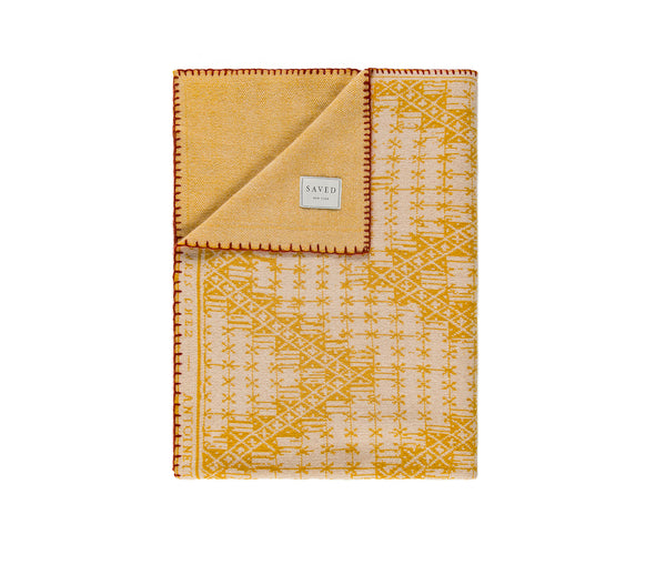 Chevrons N.32 Yellow Cashmere Blanket