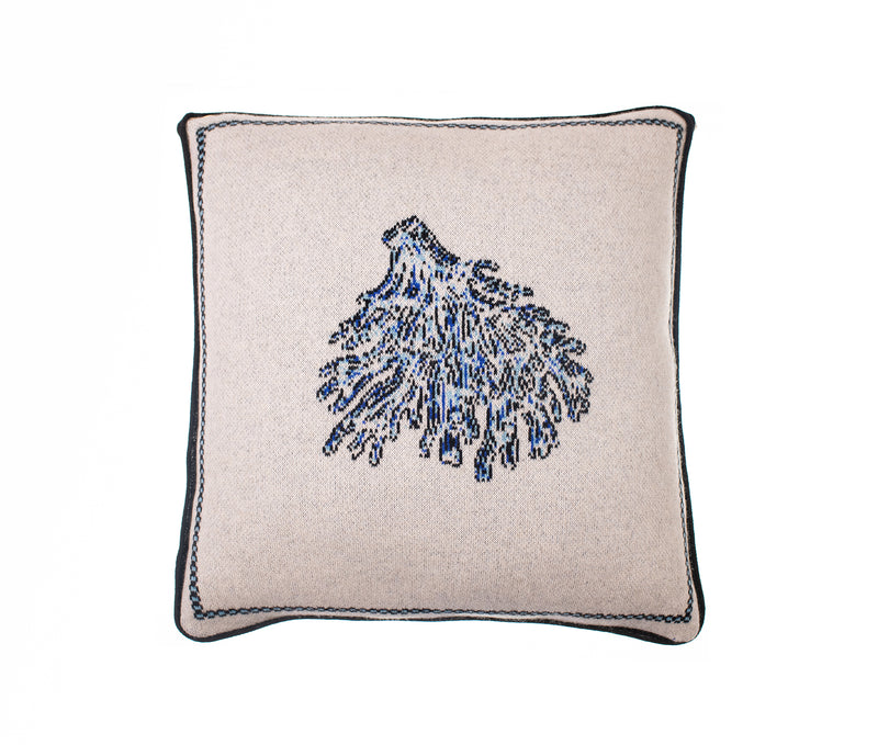 Blue Bordered Coral Cashmere Cushion