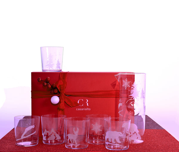 Christmas Box with Engraved set of 6 glasses and jug