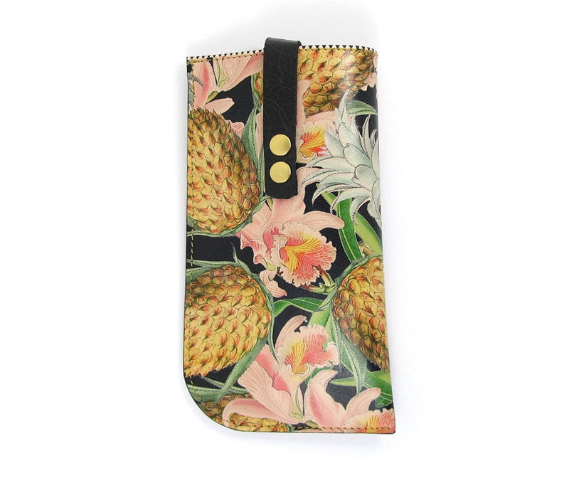 Leather Glasses Case / Sunglasses Case - Tropical Pineapples