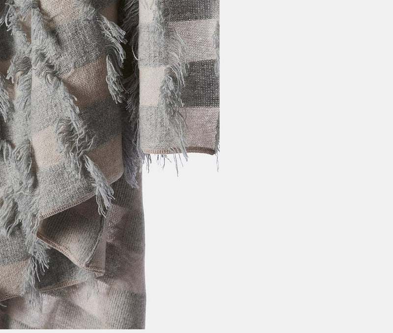 Seren Knitted Hand Cut Fringed Cashmere Throw