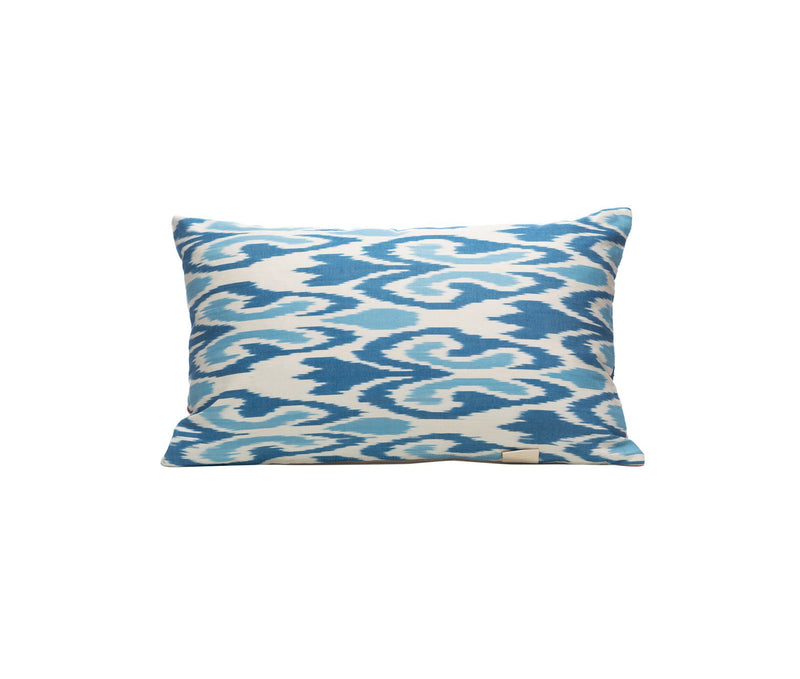 Edelweiss Snow Silk Suzani Cushion Double Sided Ikat
