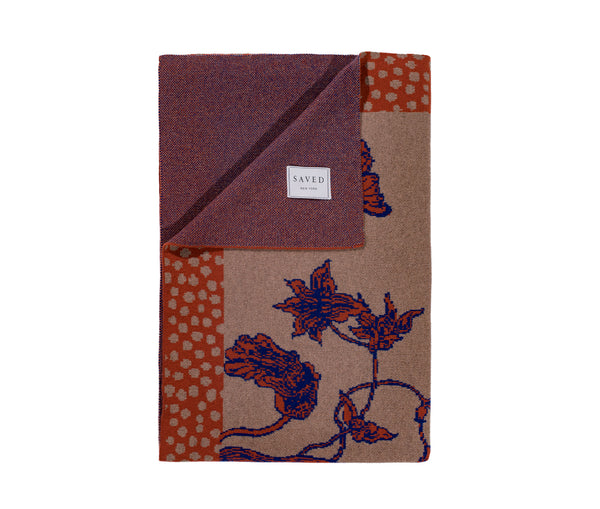 Floral & Polka Dotted Blue-Brown Blanket