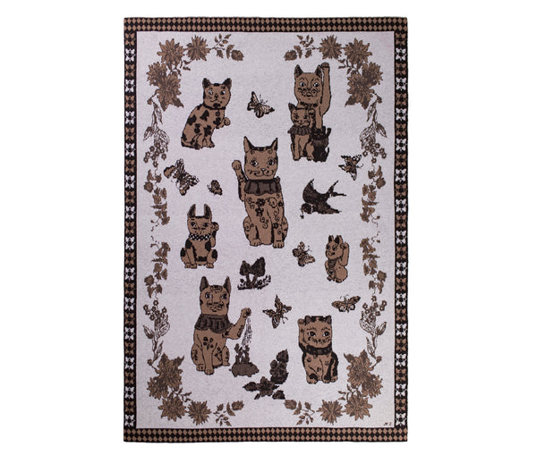 Good Luck Cats Grey Cashmere Blanket