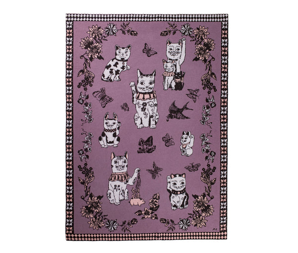 Good Luck Cats Pink Cashmere Blanket