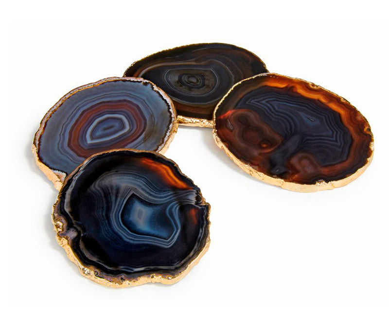 Lumino Gemstone Coasters Agate & 24k Gold - Midnight Gld