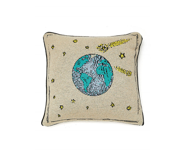 Cashmere Planet Earth Design Cushion