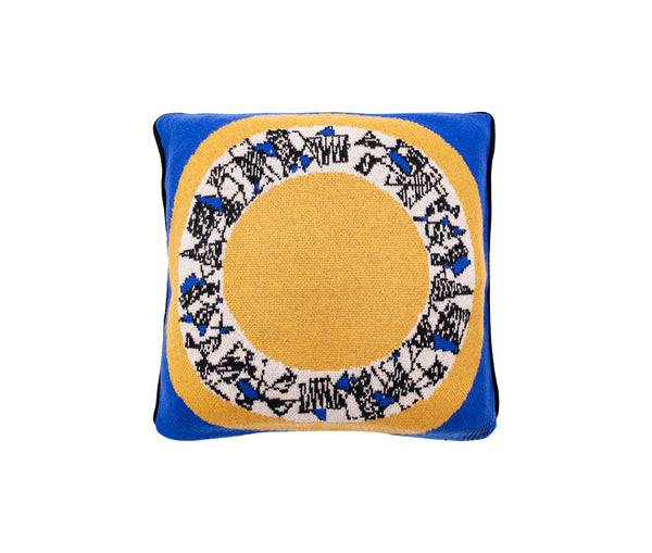 Cashmere Blue & Yellow Mirror Cushion