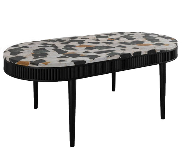Mausam Oval Coffee Table With Terrazzo Top