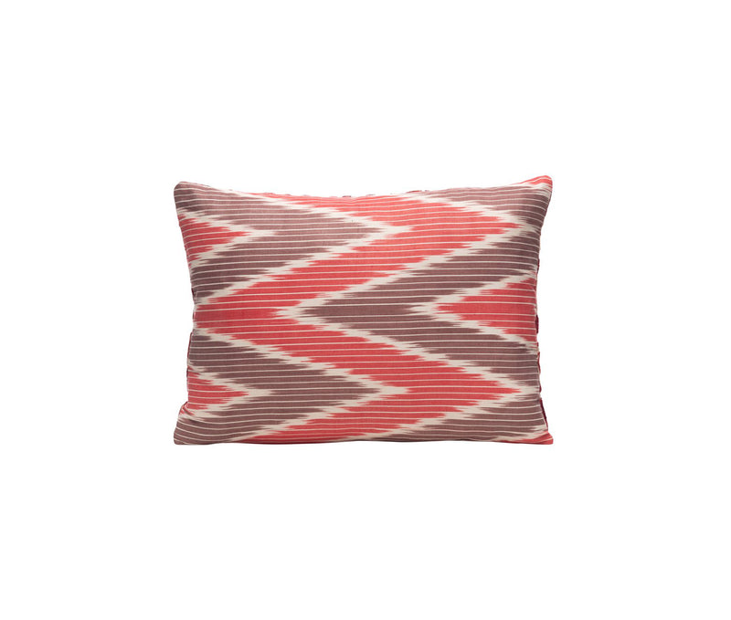 Poppy Petal Silk Suzani Cushion Double Sided Ikat