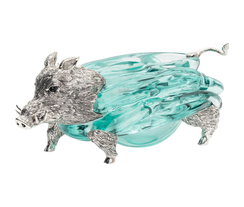 Glass Ashtray with Silver Boar