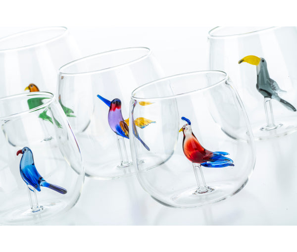 Tropical Birds set of 6 water glasses