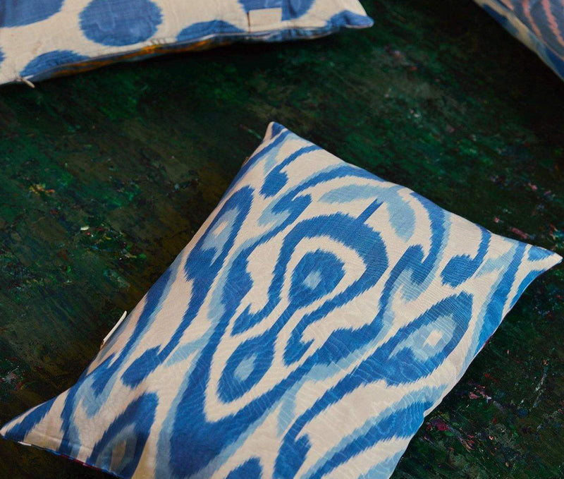 Artemis Blue Leaf Double Sided Ikat Cushion