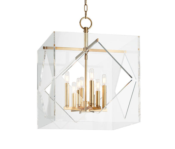 Travis large aged brass 8 light pendant