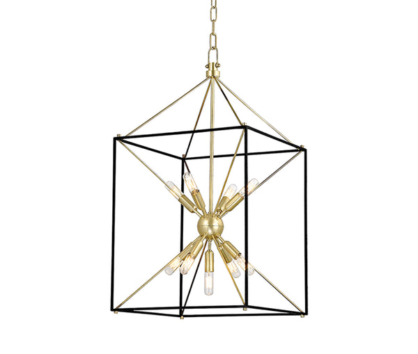 Glendale large aged brass 9 light pendant
