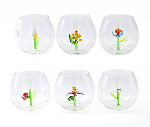 Flower Power Set of 6 Glasses