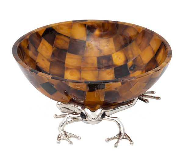 Brown Shell Bowl with Silver Frog