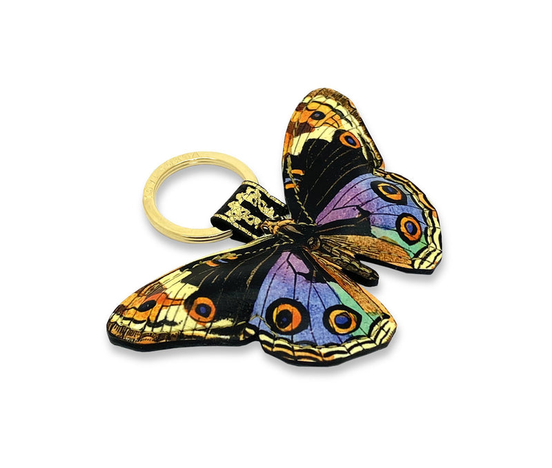Leather Key Ring / Bag Charm - Multicolour Butterfly