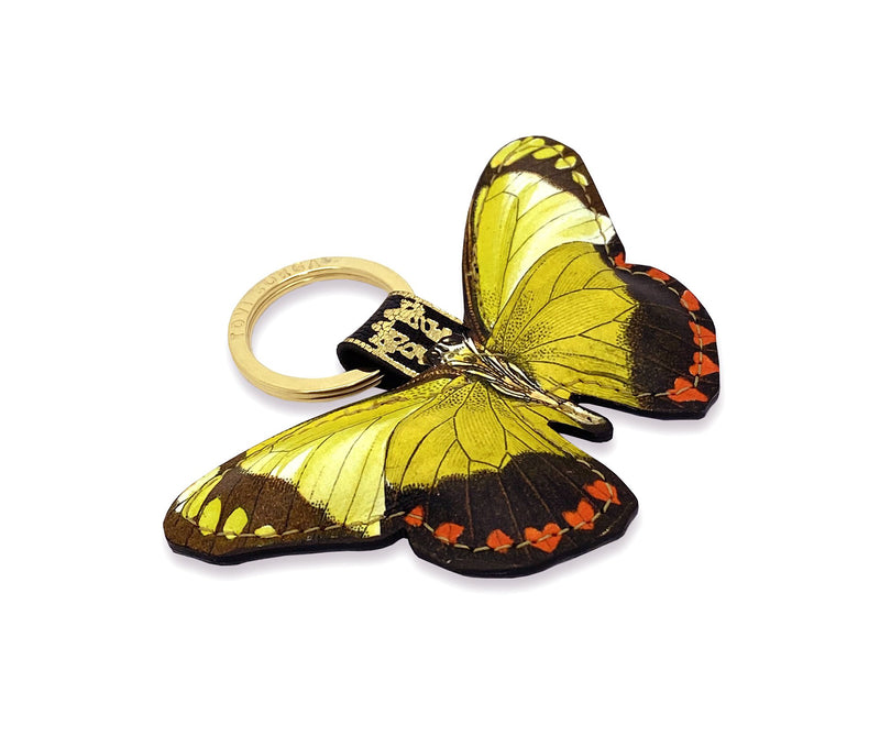 Leather Keyring / Bag Charm - Valentine Butterfly