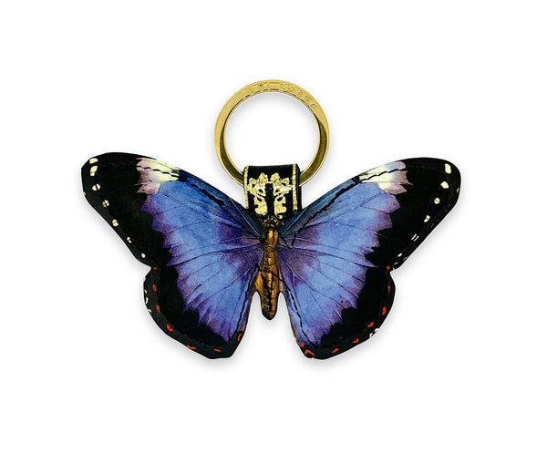 Leather Keyring / Bag Charm - Royal Purple Butterfly