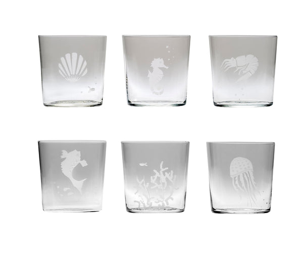Engraved Sea Glasses Set