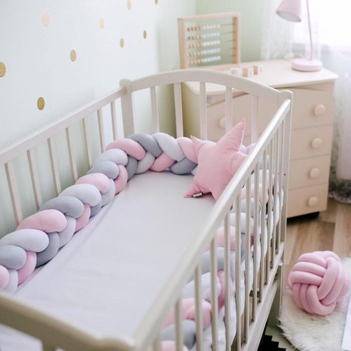 1M Newborn Baby Crib Bumper Cushion Knotted Braided Plush Nursery Cradle Decor baby bed Plush safely protection accessories