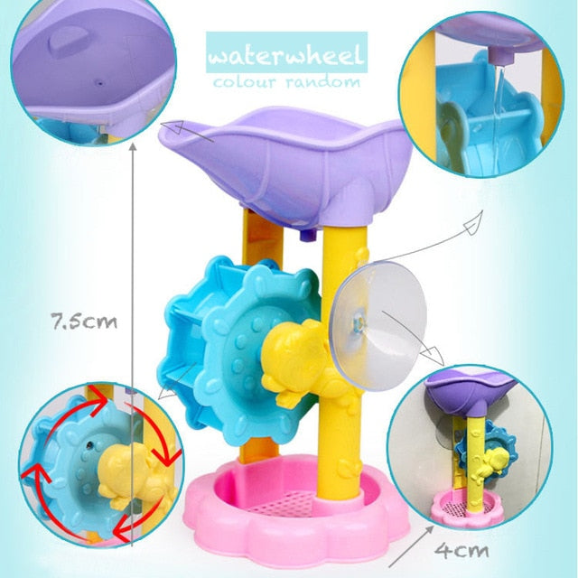 Baby Bath Waterwheel Toy Kid Bathroom Education Water Child Boys Girls 1 to 3 Happy Toddler Bathtub Foam Beach Swimming Pool