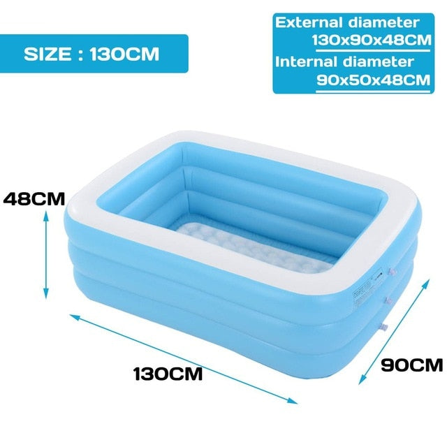1.1m- 3.05m Large Inflatable Swimming Pool Children Adults Bathing Tub Baby Home Use Paddling Pool Inflatable Square Kids Pool