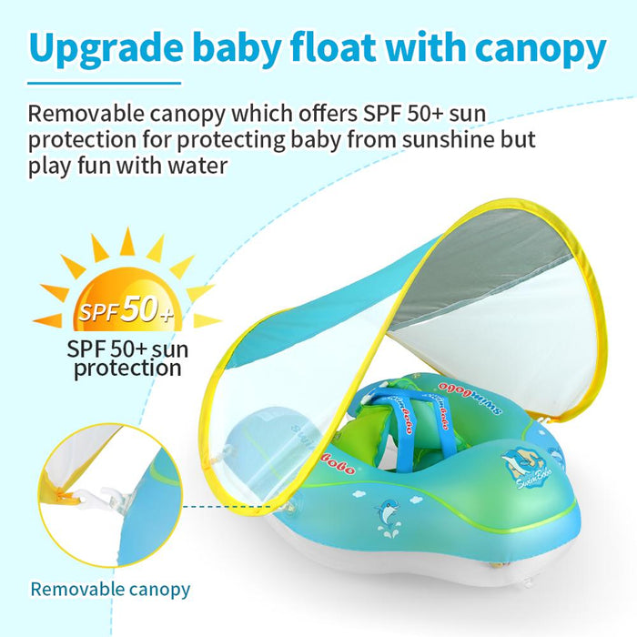 Baby Swimming Float Ring Kids Swim Pool Accessories Inflatable Infant Floating Sunscreen Shaded Inflatable Circle Swimming Neck