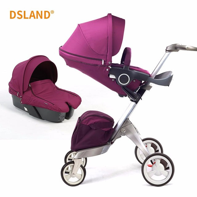 2019 New Upgrade DSLAND Luxury High Landscape Stroller Can Sit Reclining Light Folding Baby Hand Push Umbrella Cart 0-4 Y