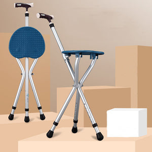Old man crutches chair four-leg multi-function anti-skid