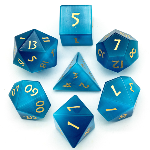 Blue Cat Eye Polyhedral Gemstone Dice Set | The Game Chamber