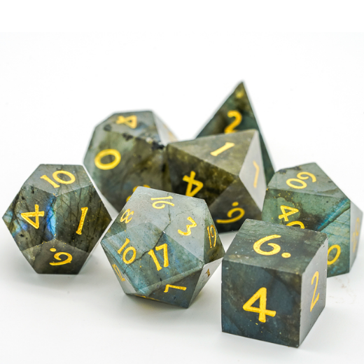Labradorite Polyhedral Gemstone Dice Set | The Game Chamber